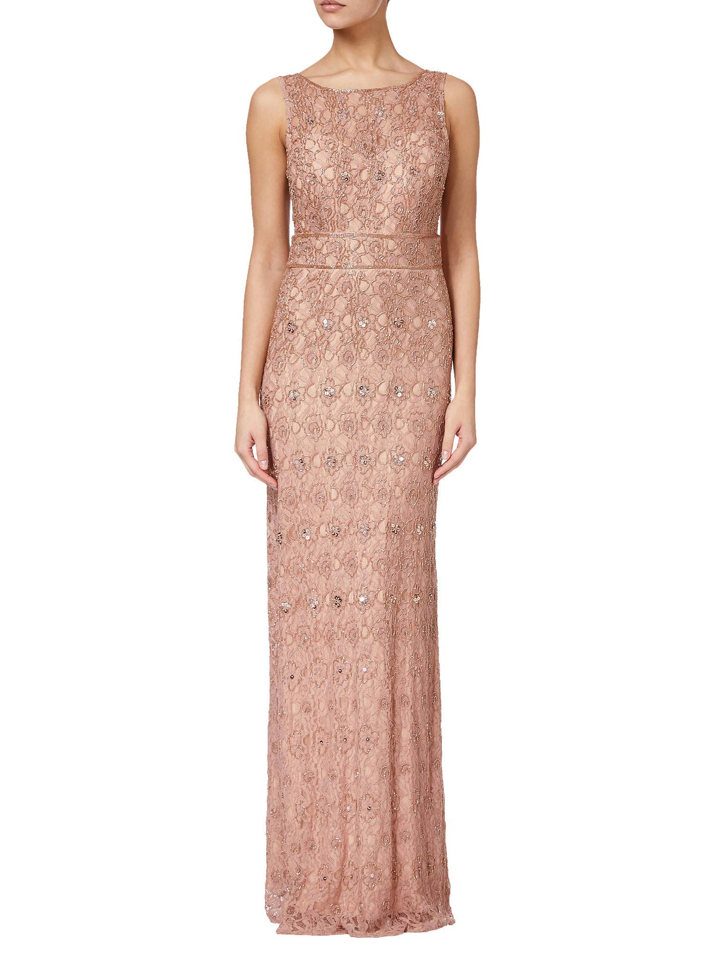 Adrianna Papell Beaded V-Back Long Dress, Rose Gold at John Lewis ...