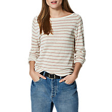 Buy Selected Femme Nive Stripe Jumper, Snow White/Shadow Grey Online at johnlewis.com