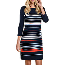 Buy Barbour Whitby Stripe Dress, Navy/Signal Orange Online at johnlewis.com