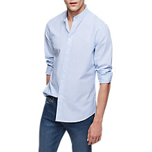 Buy Reiss Fargo Stripe Grandad Collar Shirt, Soft Blue Online at johnlewis.com