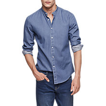 Buy Reiss Torque Grandad Collar Denim Shirt, Blue Online at johnlewis.com