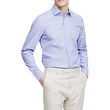 Buy Reiss Rayth Formal Cotton Striped Slim Fit Shirt, Soft Blue Online at johnlewis.com