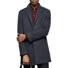 Buy Reiss Zen Wool Blend Overcoat, Indigo Online at johnlewis.com