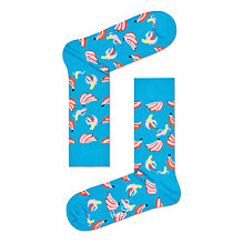 Buy Happy Socks Banana Print Socks, One Size, Blue/Pink Online at johnlewis.com