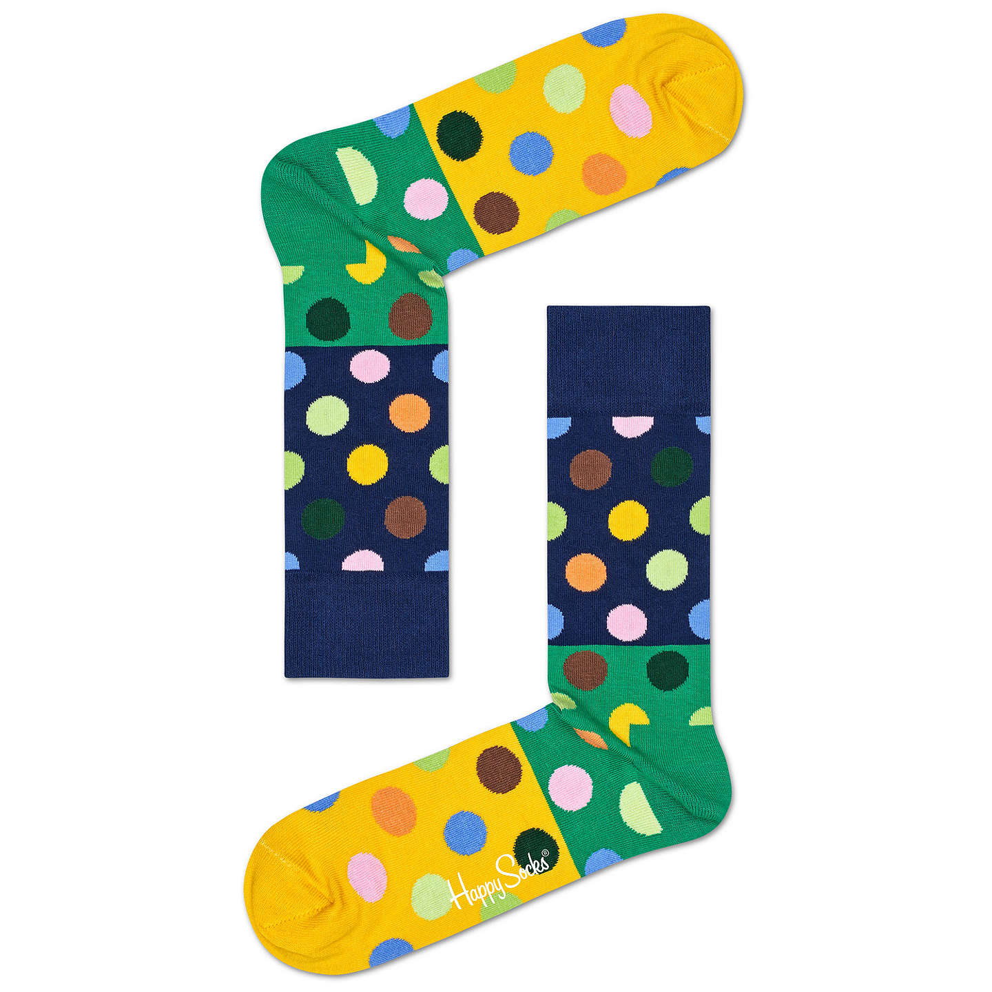 BuyHappy Socks Big Dot Socks, One Size, Green/Navy Online at johnlewis.com