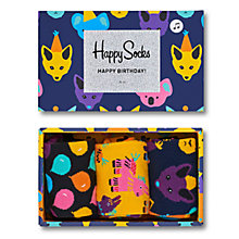 Buy Happy Socks Birthday Party Animal Socks Gift Box, Pack of 3, One Size, Black/Yellow/Navy Online at johnlewis.com
