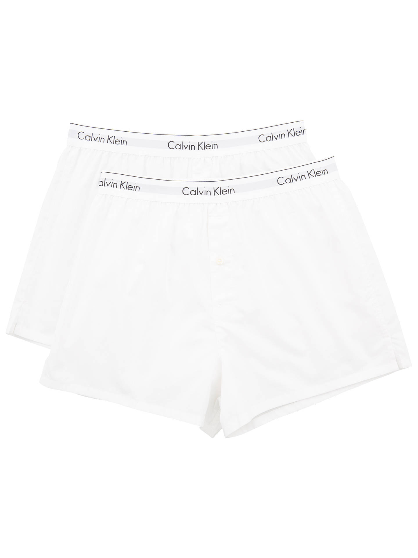 77a82c2b6762 Calvin Klein Modern Cotton Slim Fit Boxers, Pack of 2, White at John ...