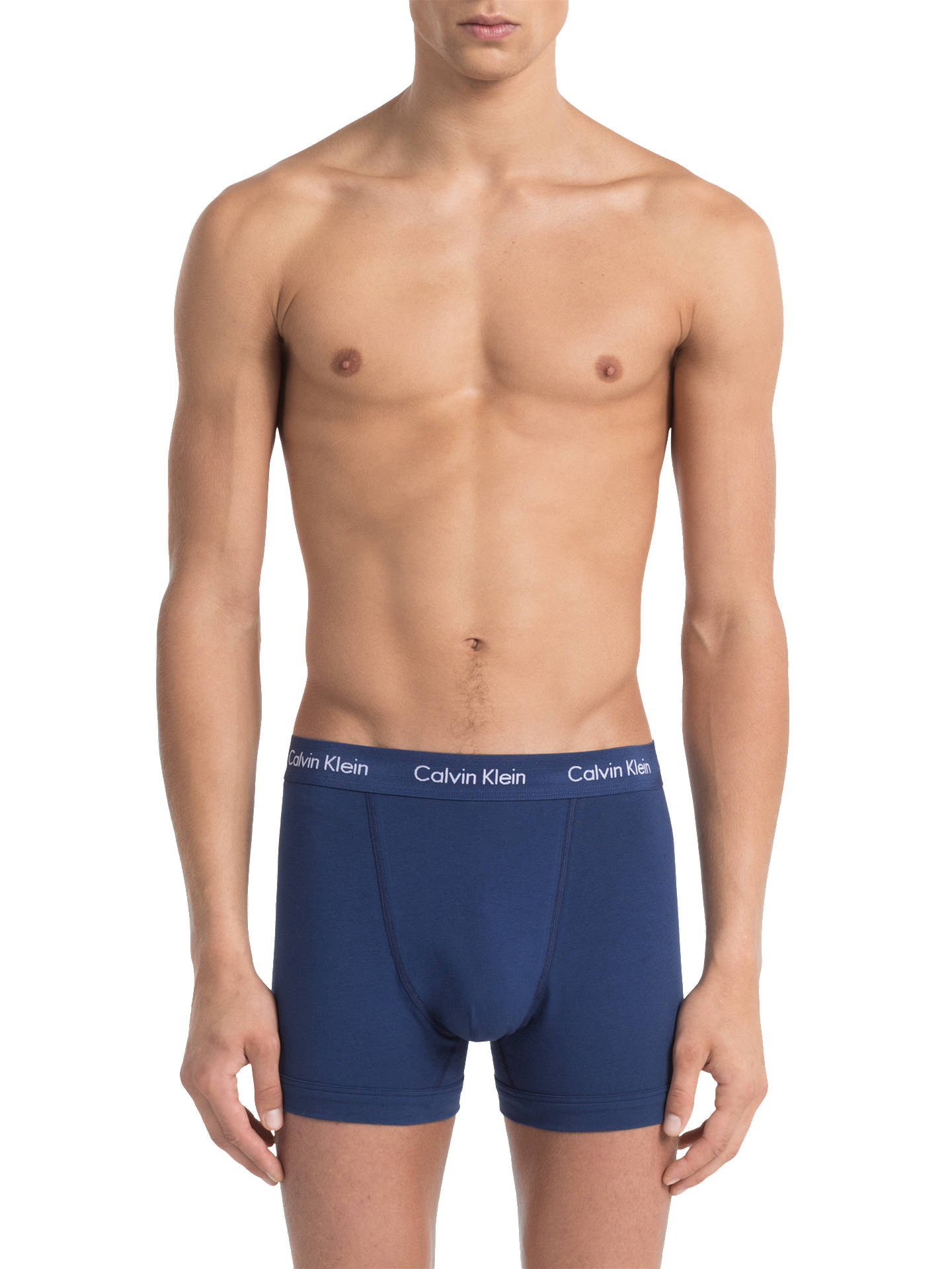Buy Calvin Klein Cotton Stretch Trunks, Pack of 3, Aqua/Orange/Blue, S Online at johnlewis.com