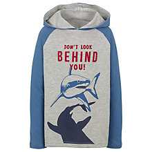 Buy Fat Face Boys' Shark Print Hooded T-Shirt, Slate Blue Online at johnlewis.com