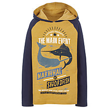 Buy Fat Face Boys' Narwhal And Shark Print Hooded T-Shirt, Ochre Online at johnlewis.com