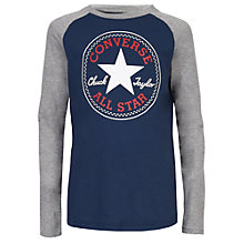 Buy Converse Boys' Long Sleeve Raglan Top, Navy Online at johnlewis.com