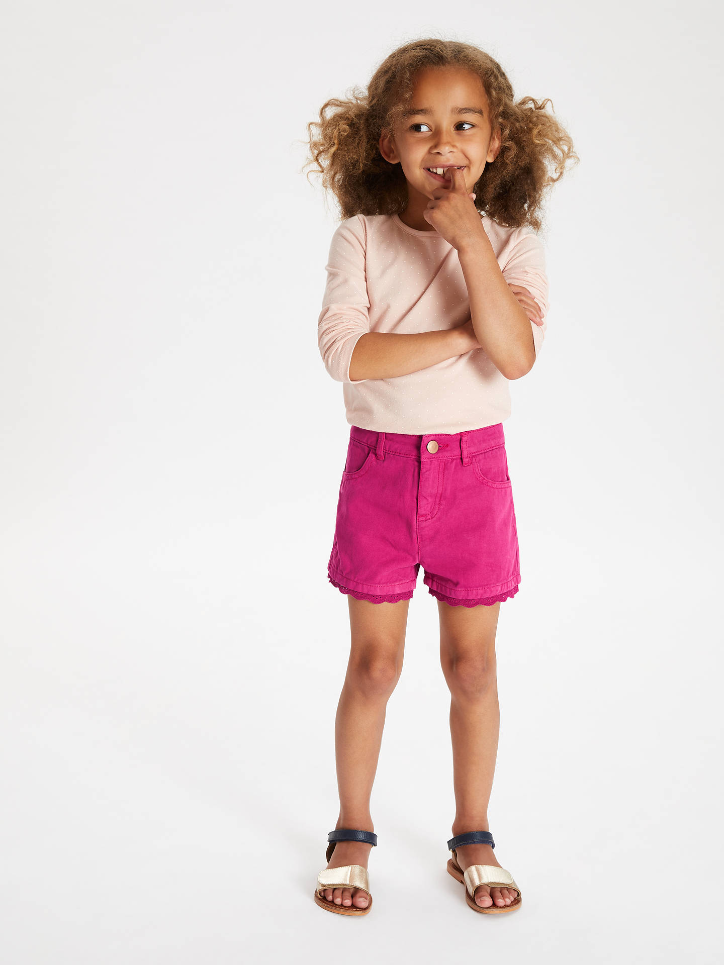 Buy John Lewis & Partners Girls' Twill Shorts, Pink, 11 years Online at johnlewis.com
