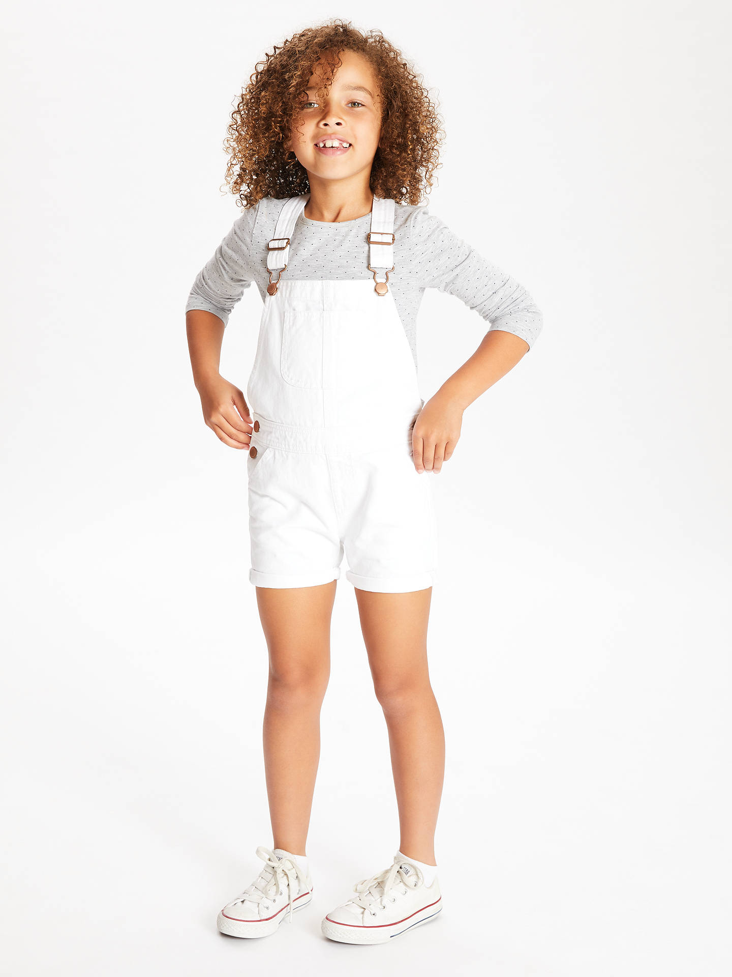 Buy John Lewis & Partners Girls' Dungaree Shorts, White, 2 years Online at johnlewis.com