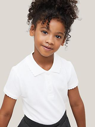 John Lewis & Partners Pure Cotton Easy Care Scallop Collar School Polo Shirt, Pack of 2, White