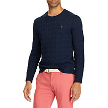 Buy Polo Ralph Lauren Cable-Knit Cotton Jumper, Worth Navy Heather Online at johnlewis.com