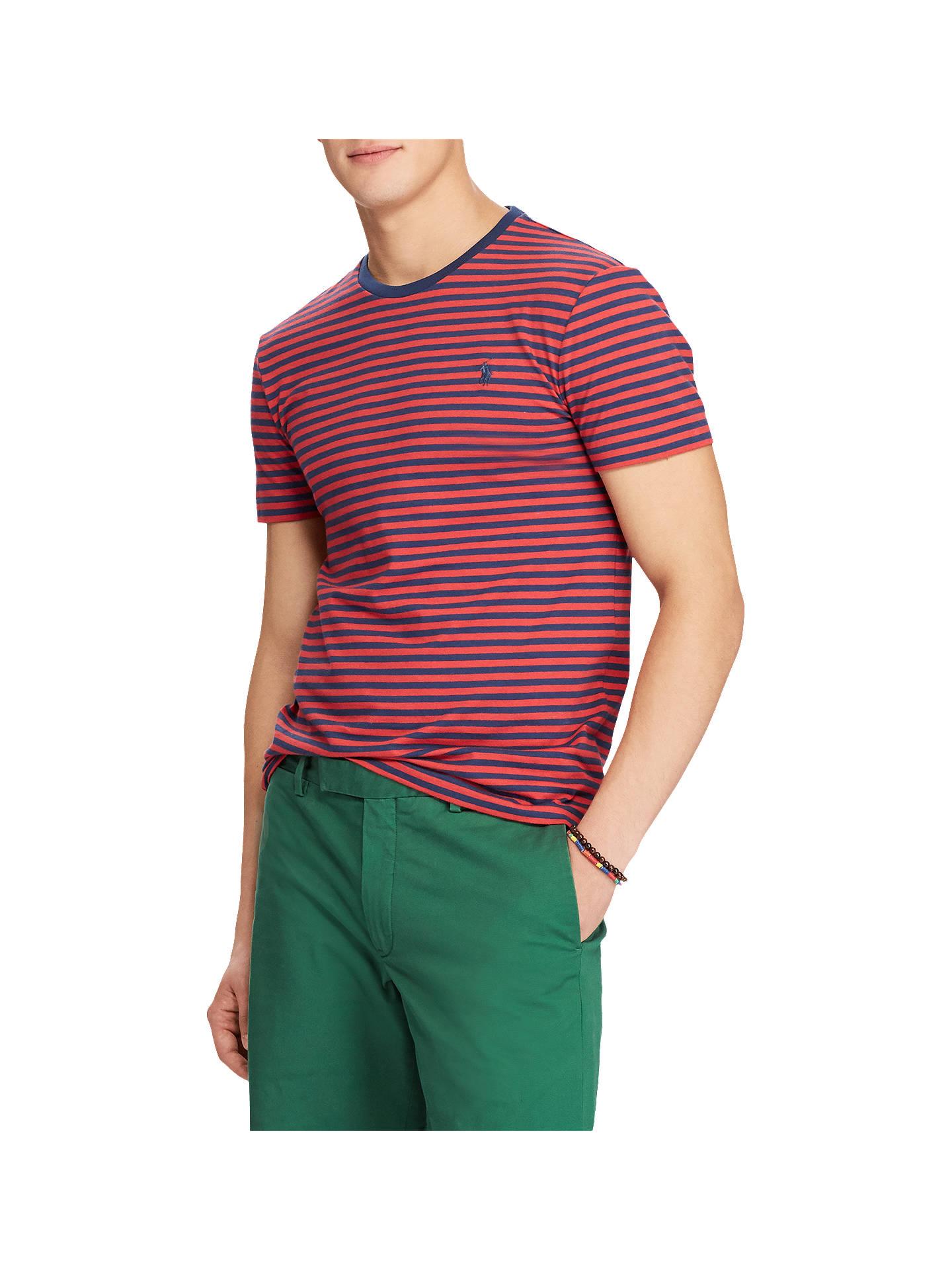 03d4eb4f Buy Polo Ralph Lauren Short Sleeve Custom Fit Stripe Crew Neck T-Shirt, Red  ...