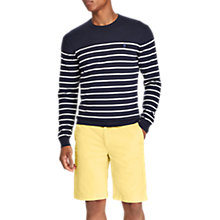 Buy Polo Ralph Lauren Crew Neck Stripe Sweatshirt, Navy/White Online at johnlewis.com