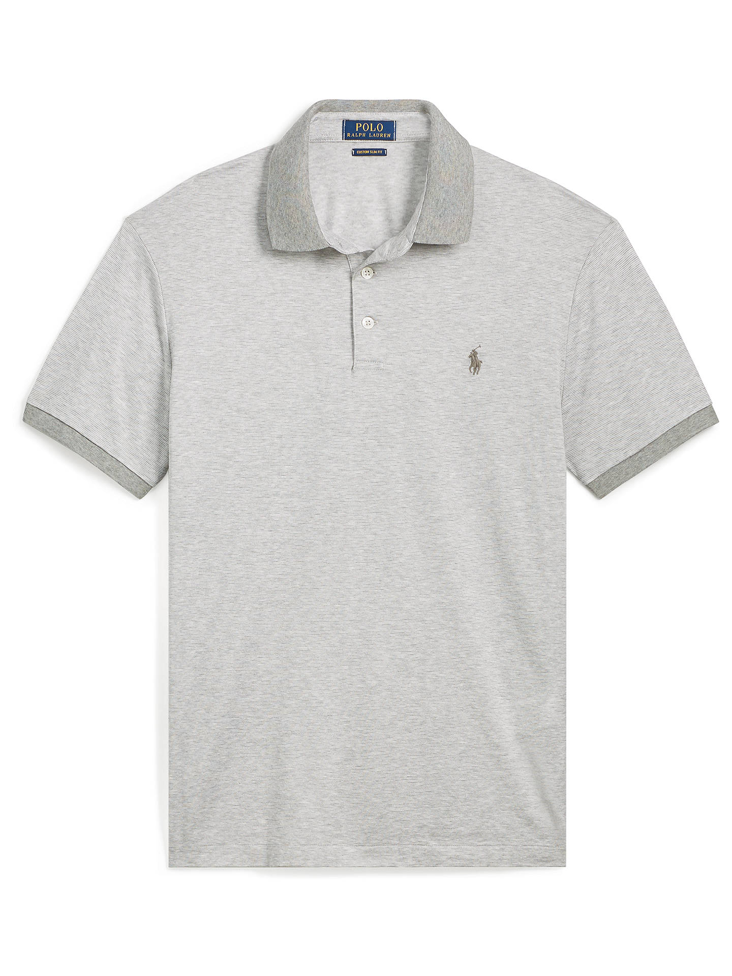 BuyPolo Ralph Lauren Mercerized Short Sleeve Polo Shirt, Andover Heather/White, S Online at johnlewis.com
