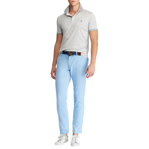Buy Polo Ralph Lauren Mercerized Short Sleeve Polo Shirt, Andover Heather/White Online at johnlewis.com