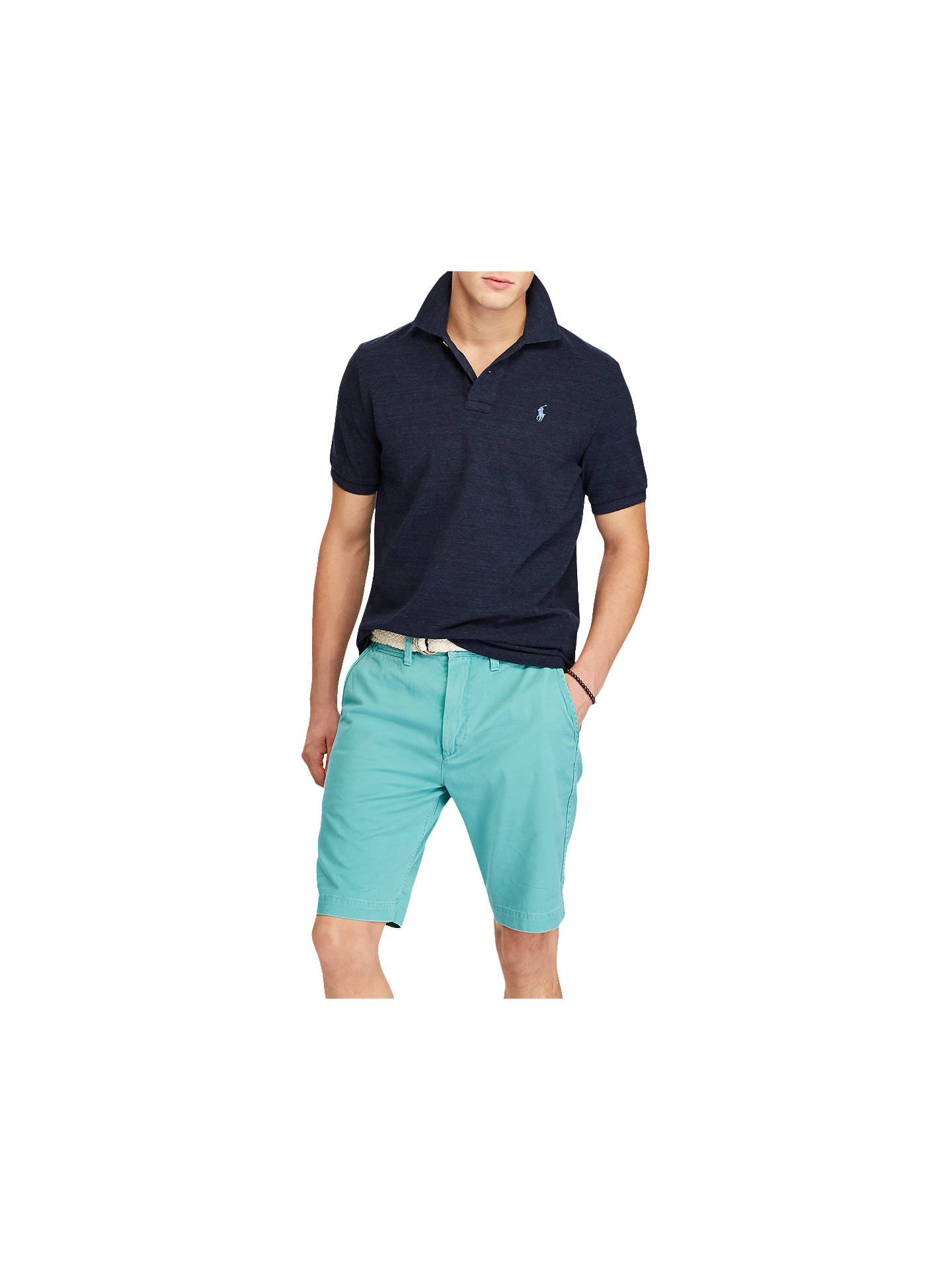 c7e3fd186b034e ... Buy Polo Ralph Lauren Custom Slim Polo Shirt, Worth Navy Heather, S  Online at ...