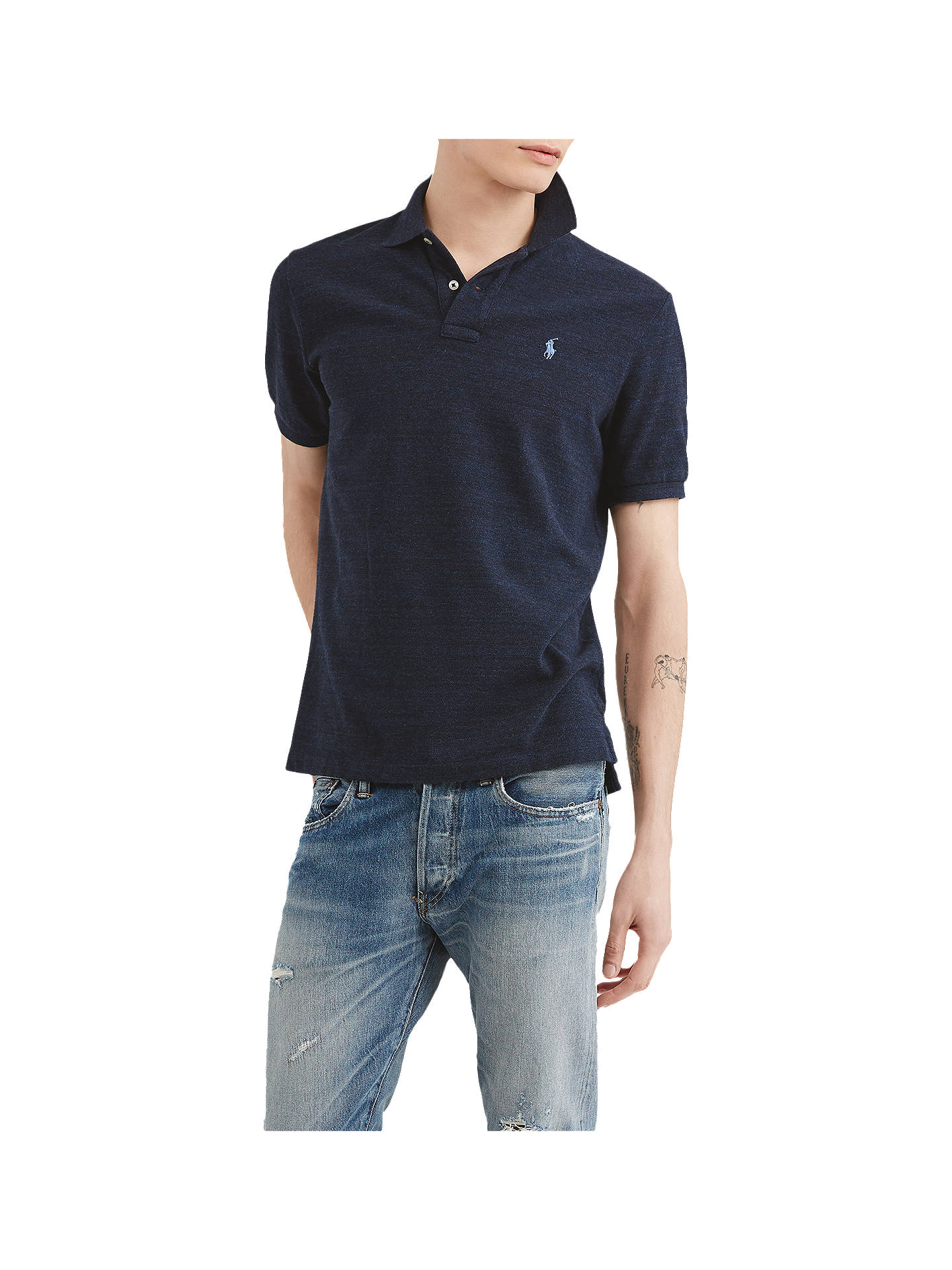 BuyPolo Ralph Lauren Custom Slim Polo Shirt, Worth Navy Heather, S Online at johnlewis.com