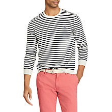 Buy Polo Ralph Lauren Long Sleeve Stripe Crew Neck Jumper, Cream/Navy Online at johnlewis.com