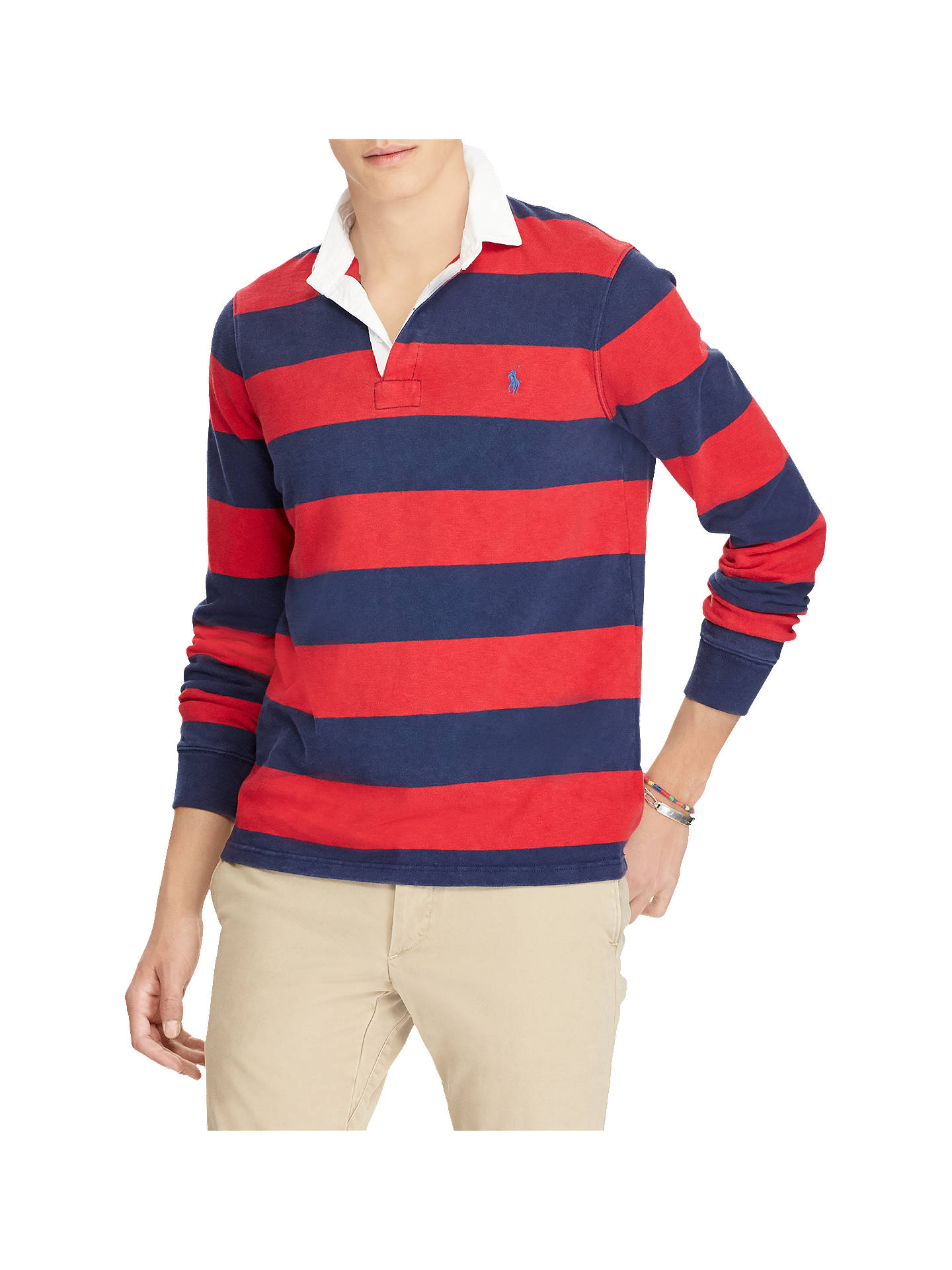 Polo Ralph Lauren Men/'s Red//Navy Stripe Iconic Rugby Classic Fit Polo Shirt