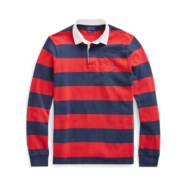 ... BuyPolo Ralph Lauren Long Sleeve Stripe Rugby Top, Newport Navy/Ralph  Red, S