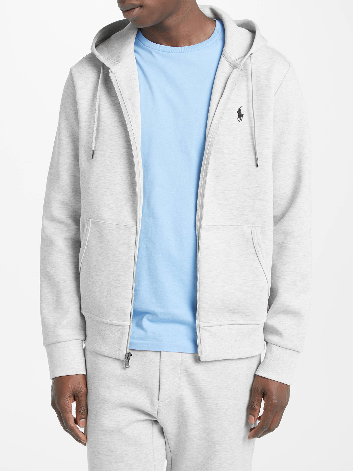 55e4e6412 Buy Polo Ralph Lauren Long Sleeve Full Zip Hoodie, Light Sport Heather, S  Online ...