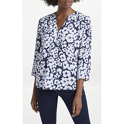 NYDJ Etched Flowers Print Pin Tuck Blouse, Navy