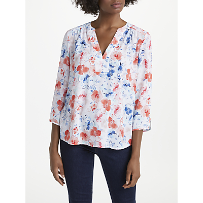 NYDJ Wildflowers Print Pin Tuck Blouse, Coral