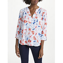 Buy NYDJ Wildflowers Print Pin Tuck Blouse, Coral Online at johnlewis.com