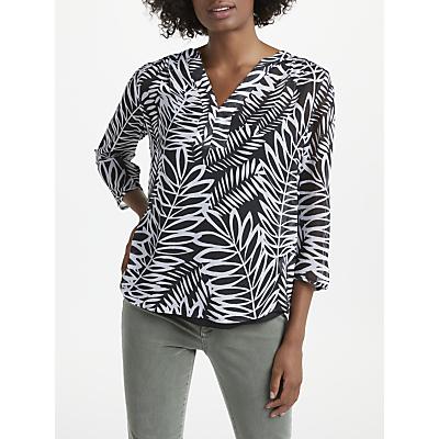 NYDJ Palms Split Neck Blouse, Black/White