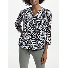 Buy NYDJ Palms Split Neck Blouse, Black/White Online at johnlewis.com