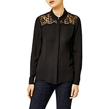 Buy Warehouse Lace Trim Shirt, Black Online at johnlewis.com