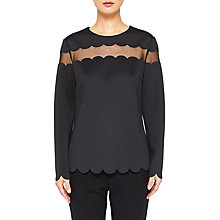 Buy Ted Baker Cindii Laser Cut Scallop Top, Black Online at johnlewis.com