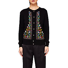 Buy Ted Baker Hampton Court Embroidered Cardigan, Black Online at johnlewis.com