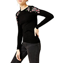 Buy Warehouse Marianne Floral Jumper, Black Online at johnlewis.com