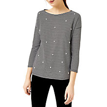 Buy Warehouse Pearl Embellished Stripe Top, Black/White Online at johnlewis.com