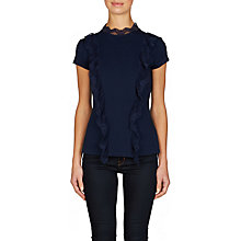 Buy Ted Baker Tuloula Pleated Lace High Neck Top, Navy Online at johnlewis.com