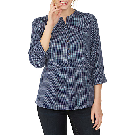 Buy Fat Face Frankie Check Popover Shirt, Navy Online at johnlewis.com