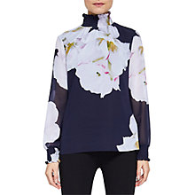 Buy Ted Baker Gardenia High Neck Blouse, Dark Blue Online at johnlewis.com