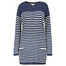Buy Fat Face Suzie Swing Longline Striped Jumper, Navy Online at johnlewis.com