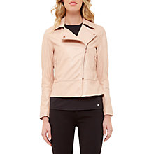 Buy Ted Baker Leather Biker Jacket, Dusty Pink Online at johnlewis.com