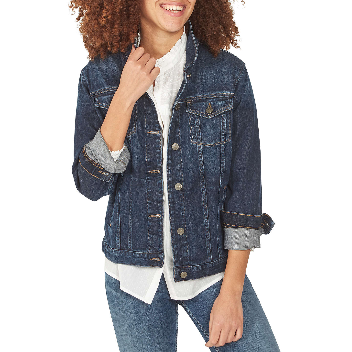 BuyFat Face Tasha Denim Jacket, Dark Denim, 8 Online at johnlewis.com