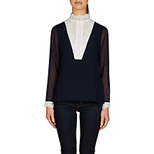 Buy Ted Baker Moranda High Neck Lace Insert Top, Dark Blue/White Online at johnlewis.com