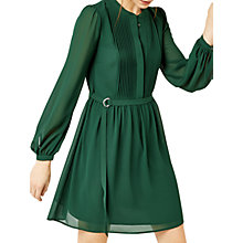 Buy Warehouse Chiffon Shirt Dress, Dark Green Online at johnlewis.com