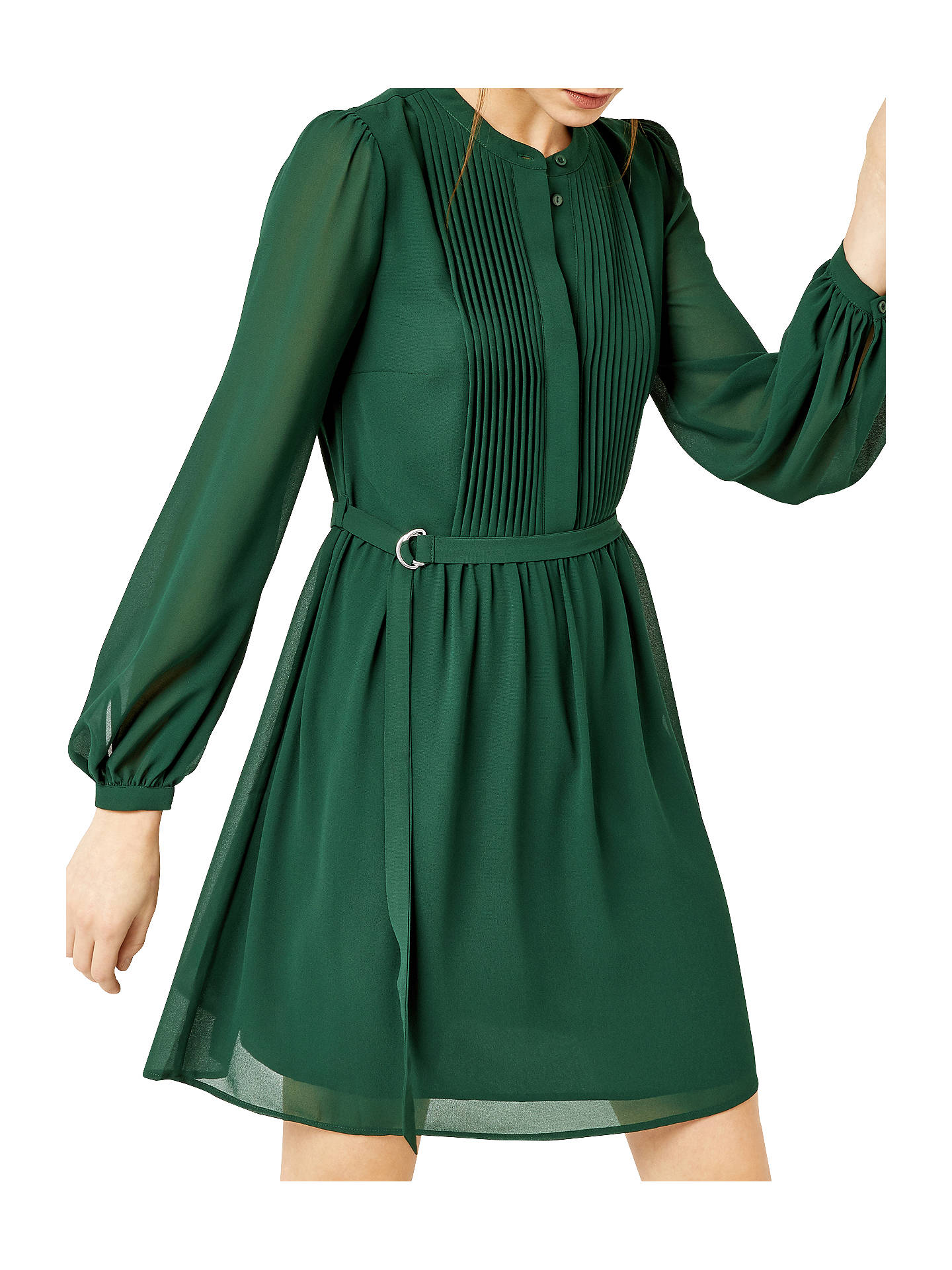 d3efda5eee21 Buy Warehouse Chiffon Shirt Dress, Dark Green, 6 Online at johnlewis.com ...