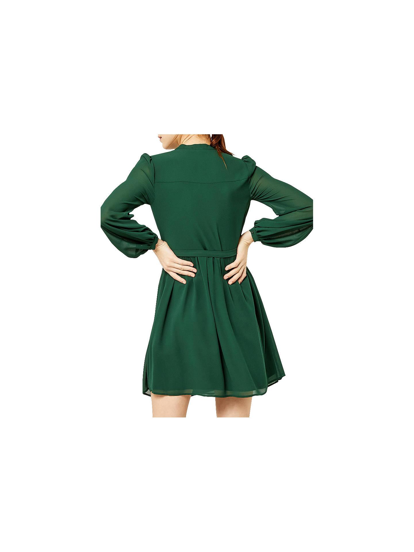 c1cf3a3d4b5a ... Buy Warehouse Chiffon Shirt Dress, Dark Green, 6 Online at  johnlewis.com ...