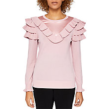 Buy Ted Baker Hellgar Satin Contrast Jumper, Dusty Pink Online at johnlewis.com